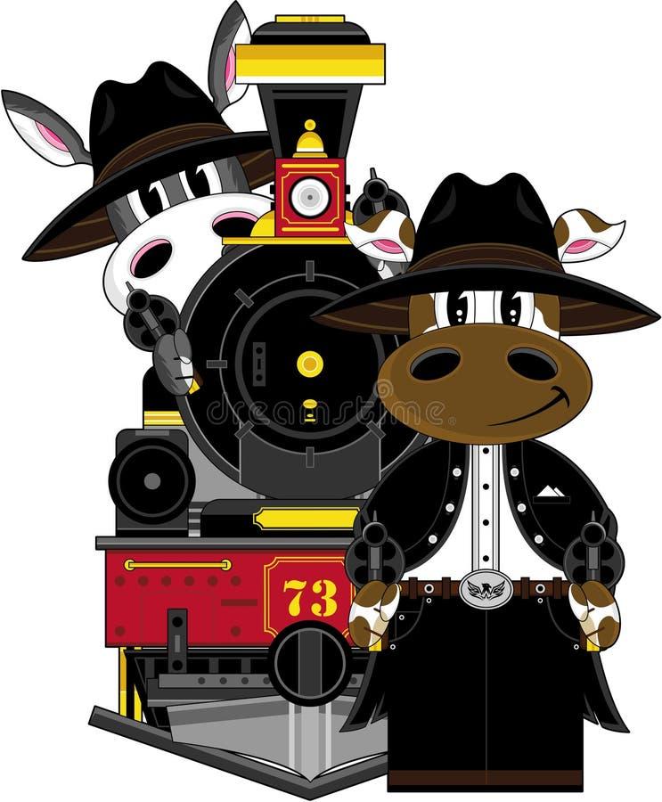 Kreskówka osła pociąg i kowboj royalty ilustracja