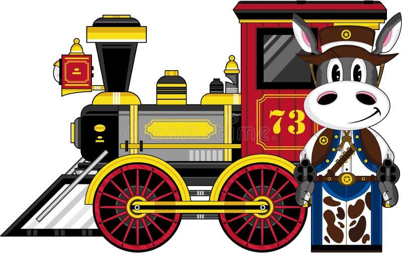 Kreskówka osła pociąg i kowboj ilustracji
