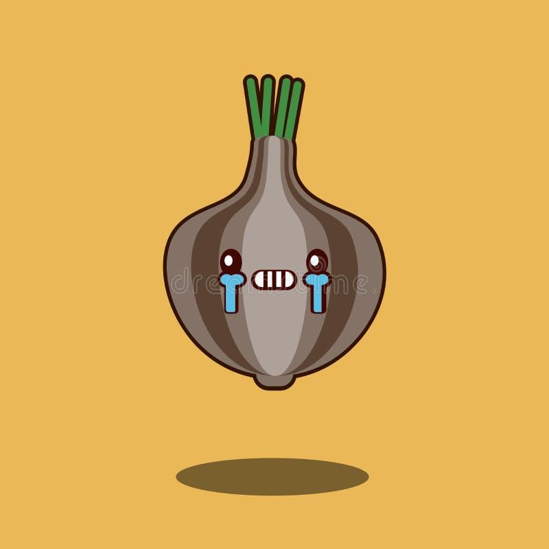 Kreskówka płaczu charactericon smutnego cebulkowego Ślicznego jarzynowego kawaii projekta wektoru Płaska ilustracja ilustracja wektor