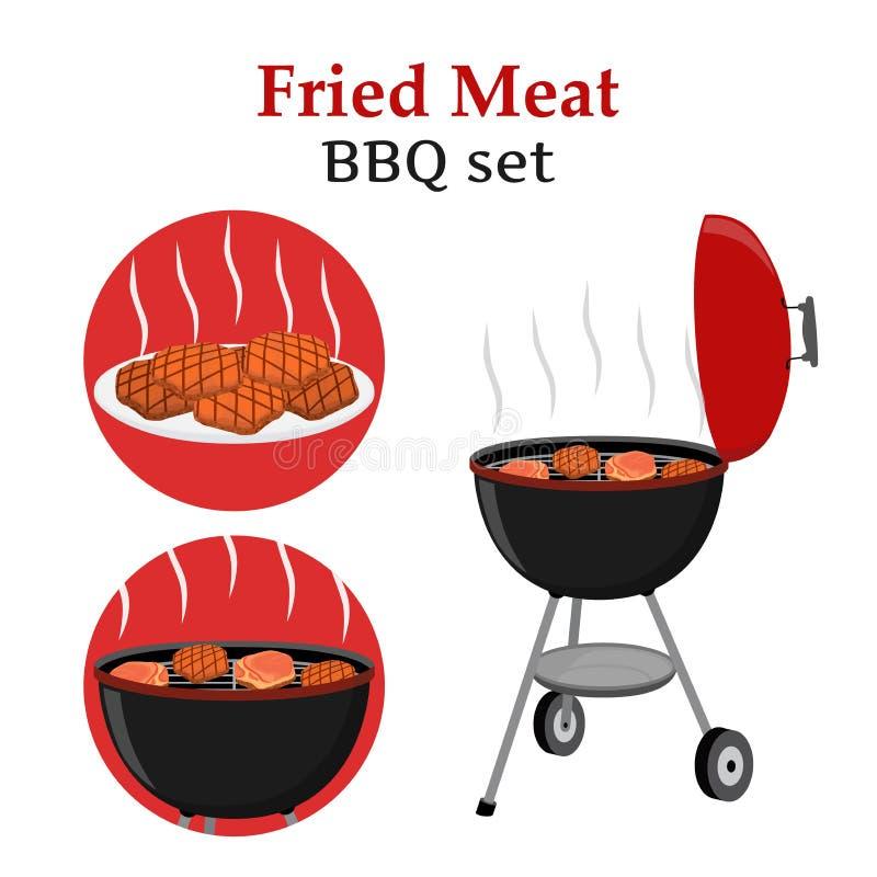 Kreskówka płaski grill ustawiający - piec na grillu stację, smażący, piec, świeży mięso, ilustracja wektor