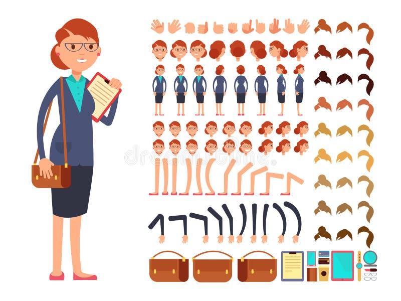 Kreskówka płaskiego bizneswomanu charakteru wektorowy konstruktor z setem części ciała i różni ręka gesty royalty ilustracja