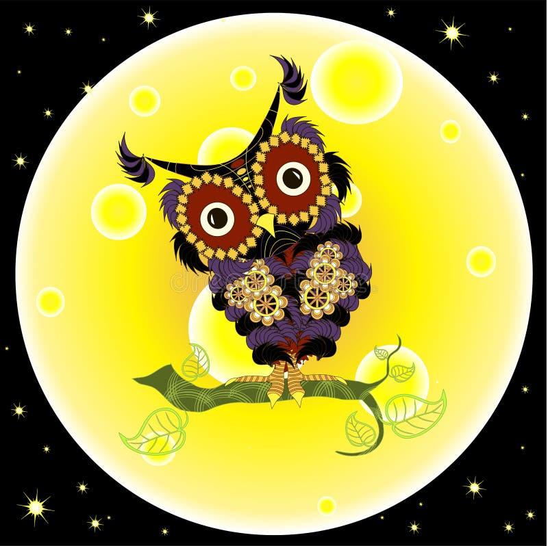 Kreskówka płaskiego projekta fiołkowa sowa na żółtym księżyc tle, noc zmrok - niebieskie niebo ilustracja wektor