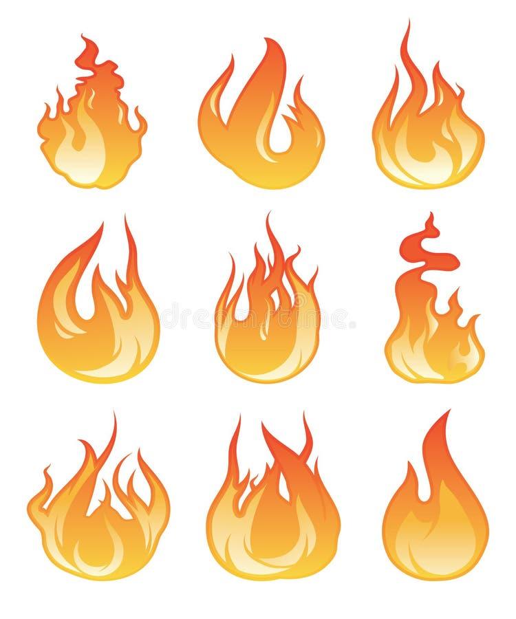 Kreskówka płomienia set Wektorowa ilustracja pożarniczy płonąć ilustracji