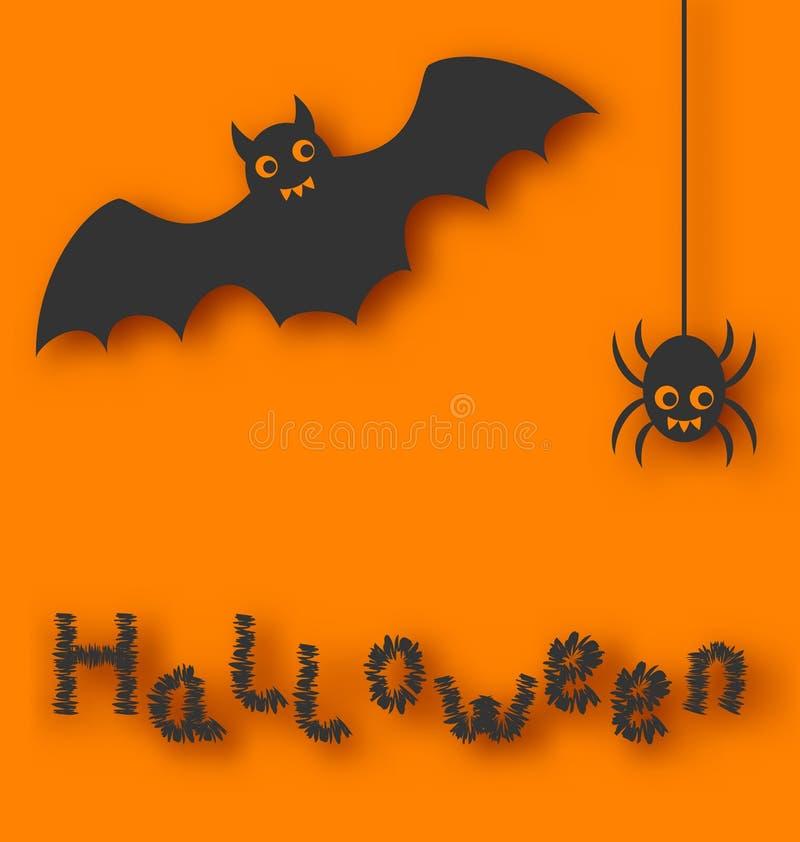 Kreskówka pająk na pomarańczowym tle i nietoperz royalty ilustracja