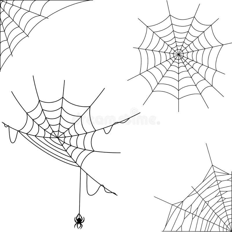 Kreskówka pająka sieci kolekci set royalty ilustracja