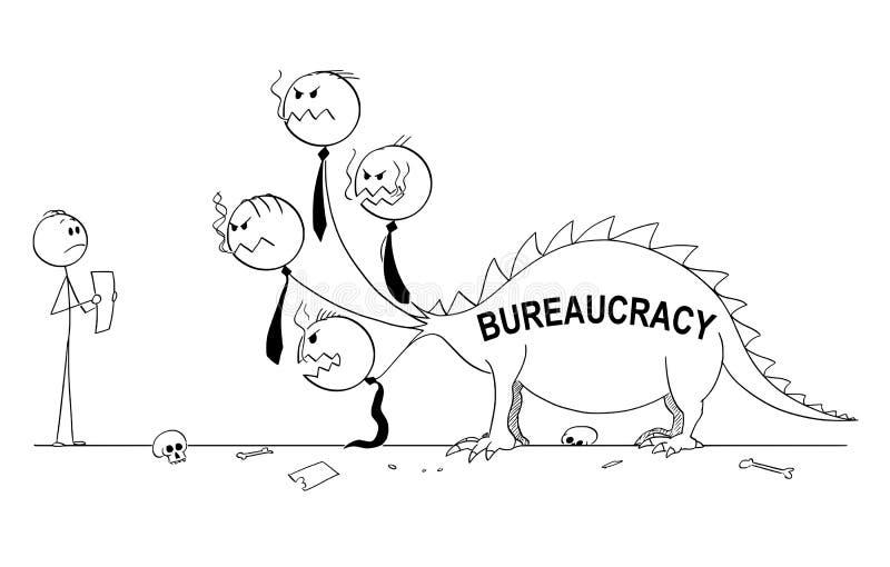 Kreskówka papier, obszycie i smok biurokracja lub bestia royalty ilustracja