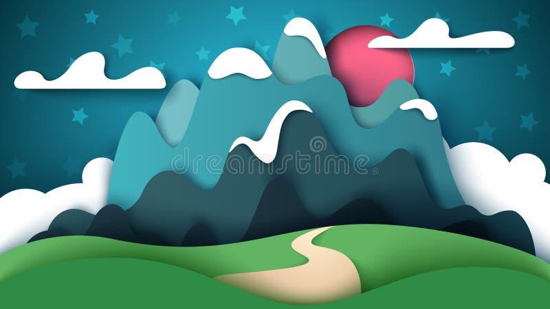 Kreskówka papieru krajobraz Halna ilustracja ilustracji