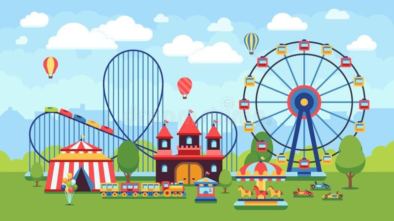 Kreskówka park rozrywki z cyrkiem, carousels i kolejka górska wektoru ilustracją, royalty ilustracja