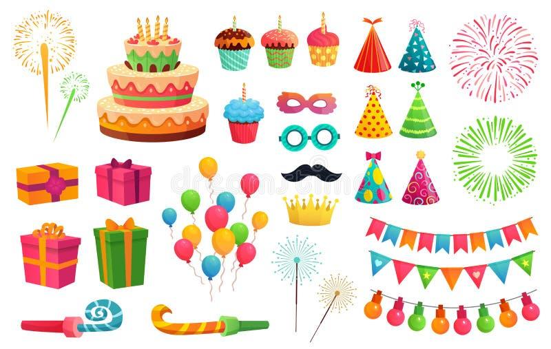 Kreskówka partyjny zestaw Rakietowi fajerwerki, kolorowi balony i urodzinowi prezenty, Karnawał maski i słodkie babeczki wektorow ilustracji