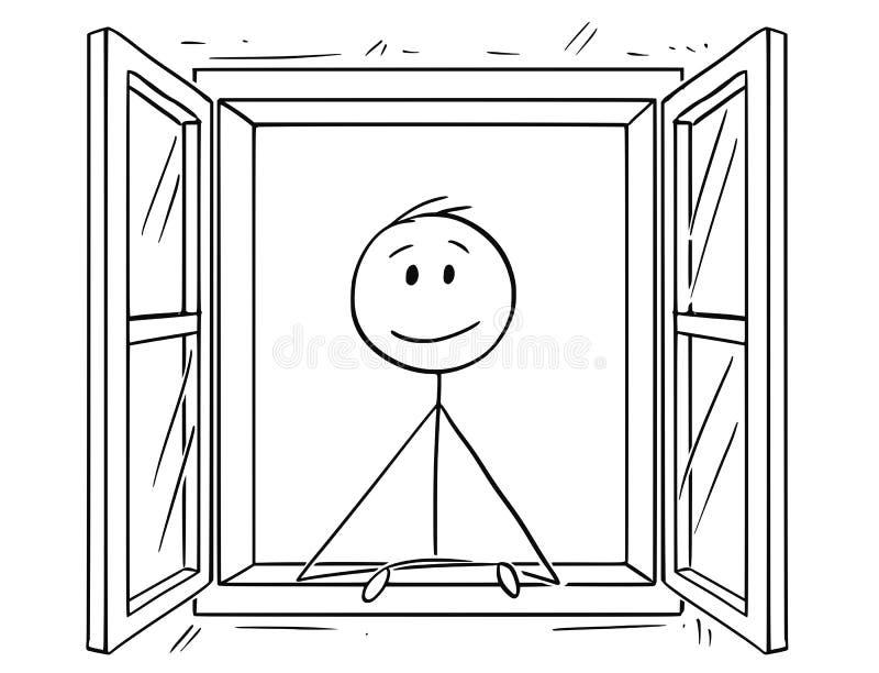 Kreskówka Patrzeje Przez otwartego okno mężczyzna ilustracji