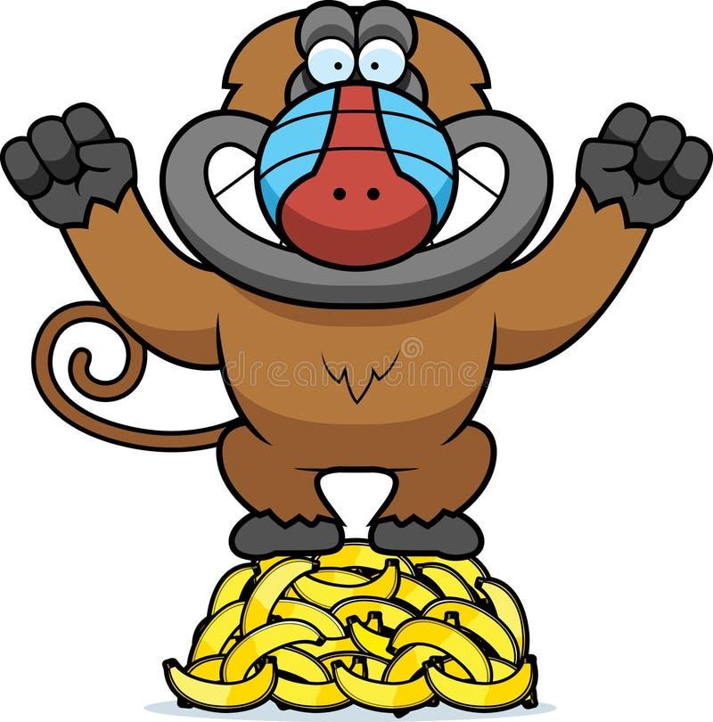 Kreskówka pawianu banany ilustracja wektor