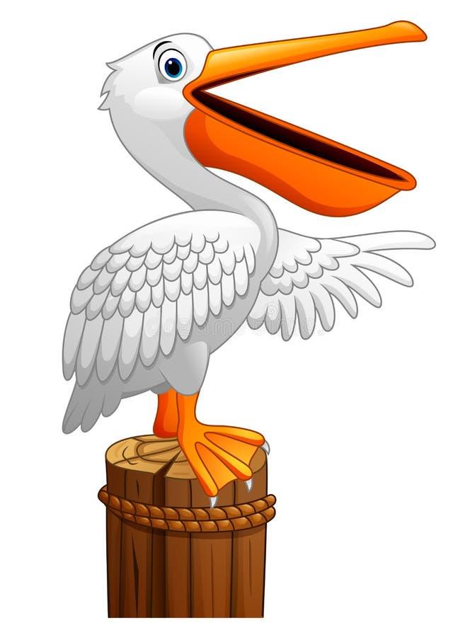 Kreskówka pelikan w zatoce ilustracji