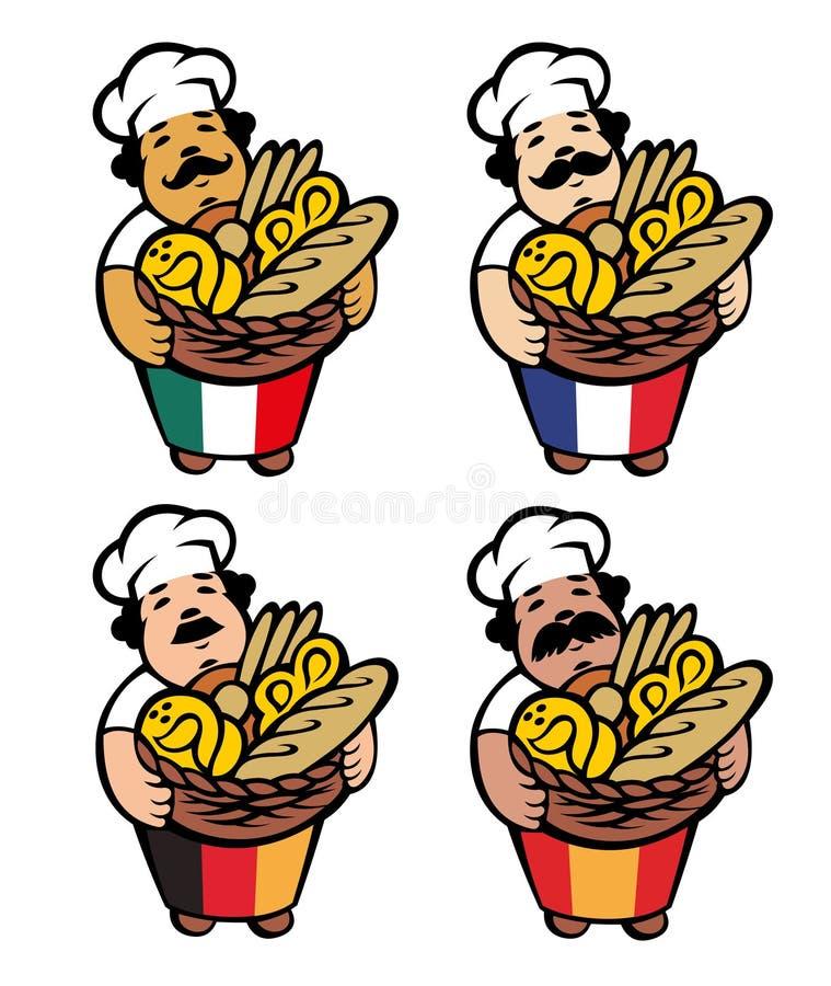 Kreskówka piekarz bierze kosz z chlebem i babeczkami, wektorowa ilustracja ilustracja wektor