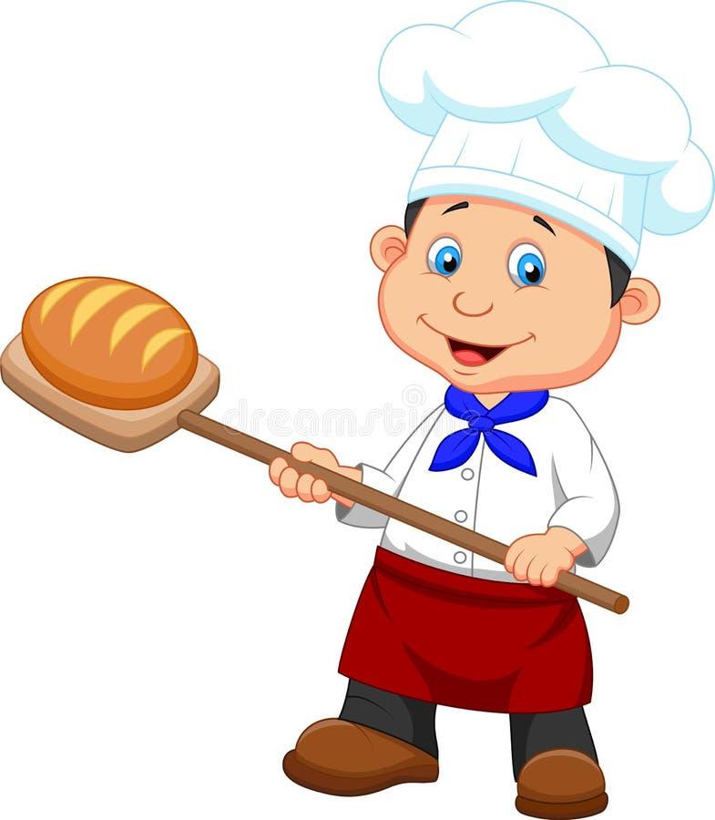 Kreskówka piekarz z chlebem royalty ilustracja