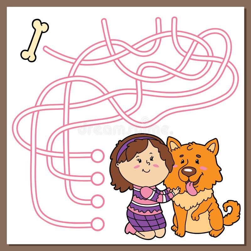 Kreskówka pies i dziewczyna royalty ilustracja