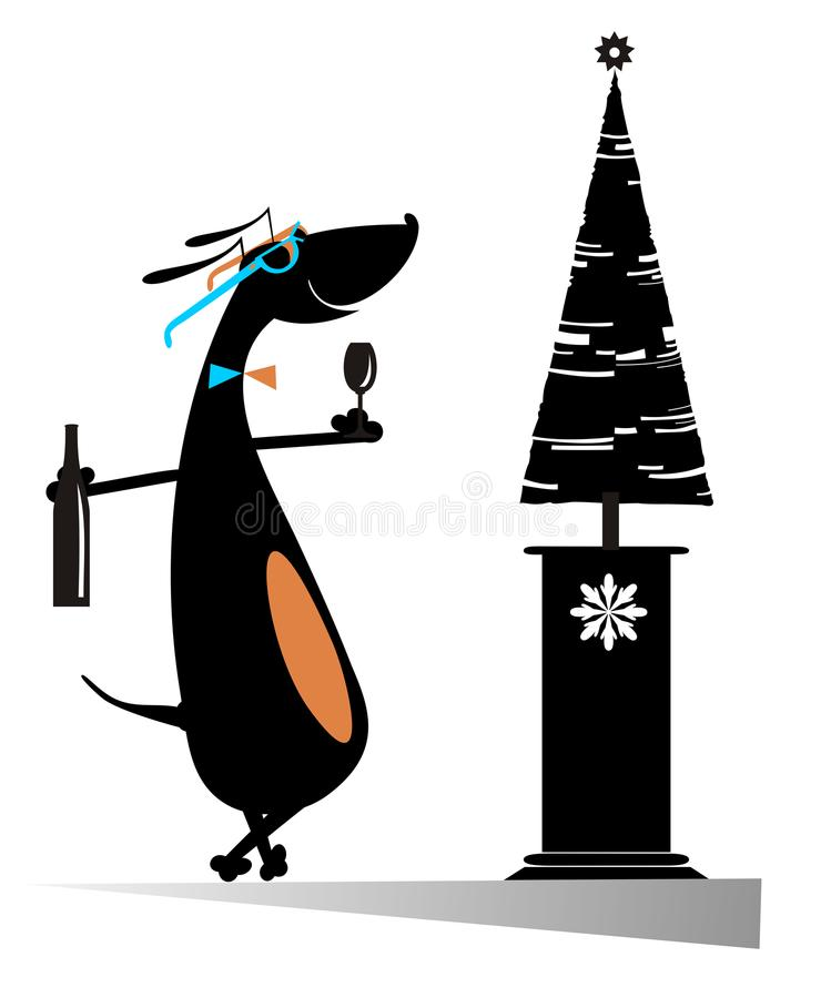 Kreskówka pies odświeża nowy rok inskrypcję odizolowywającą ilustracji