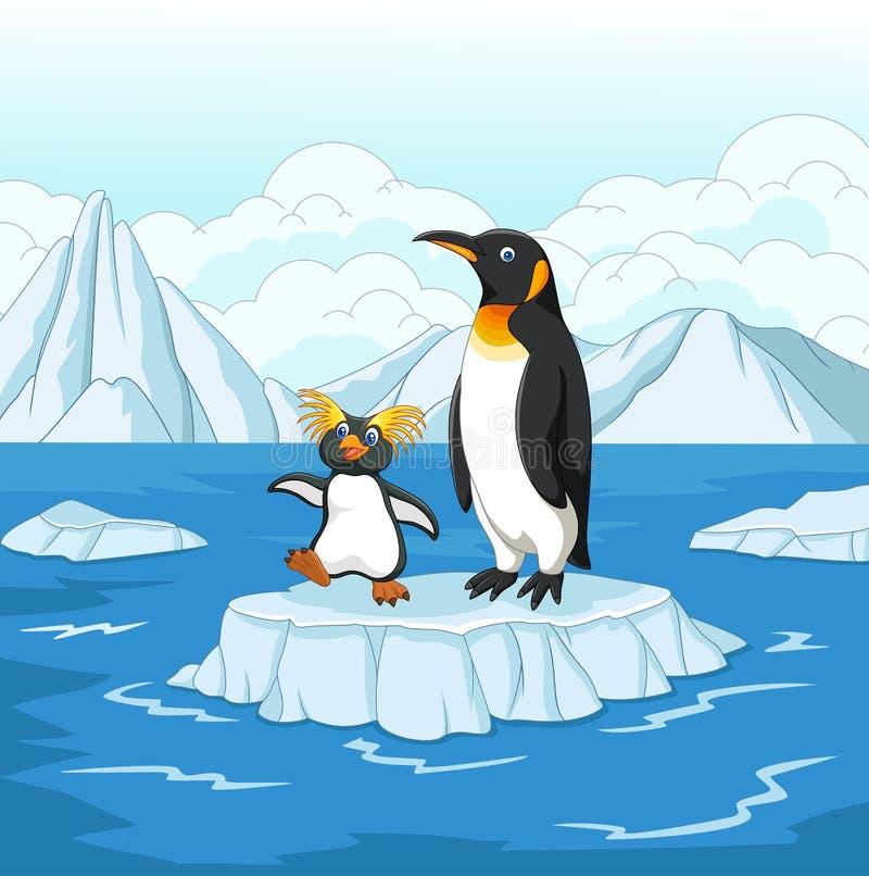 Kreskówka pingwin bawić się na lodowym floe ilustracji