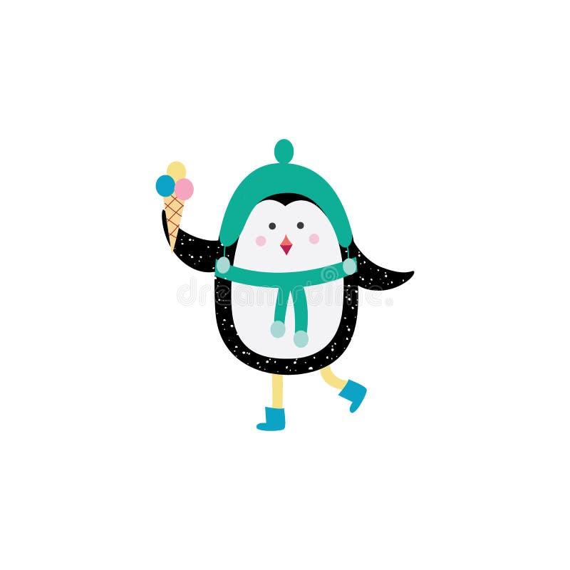 Kreskówka pingwin w ciepłej zimy odzieżowym mieniu odprowadzenie i lody ilustracji