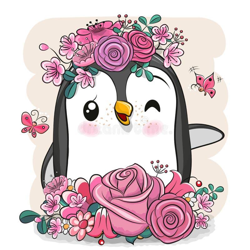 Kreskówka pingwin z kwiatami na białym tle ilustracja wektor