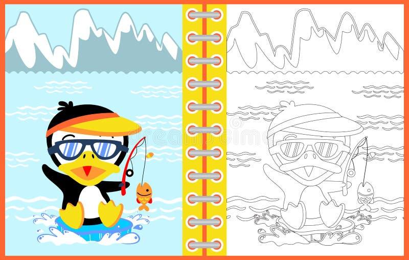 Kreskówka pingwinu połowu czas, kolorystyki strona lub książka, ilustracja wektor