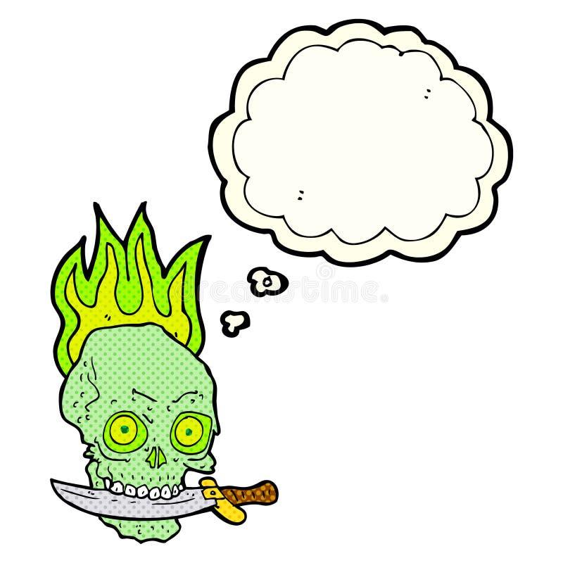 kreskówka pirata czaszka z nożem w zębach z myśl bąblem ilustracji