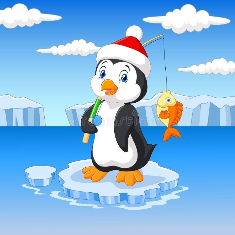 Kreskówka połowu pingwinu pozycja na lodowym floe ilustracji