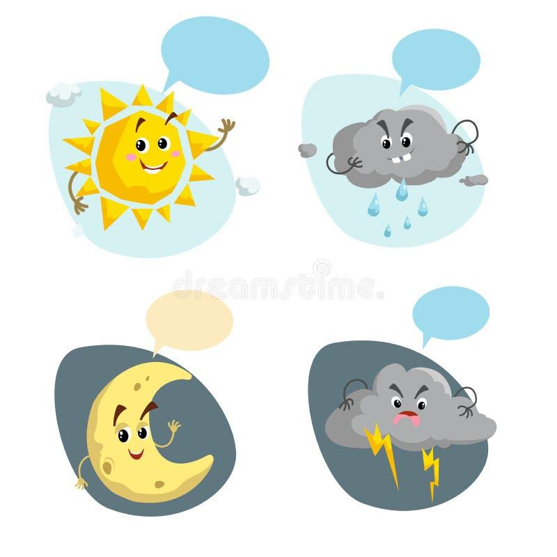 Kreskówka pogodowi charaktery ustawiający Życzliwy słońce, podeszczowa chmura z raindrops, półksiężyc księżyc i burza, chmurnieje ilustracja wektor
