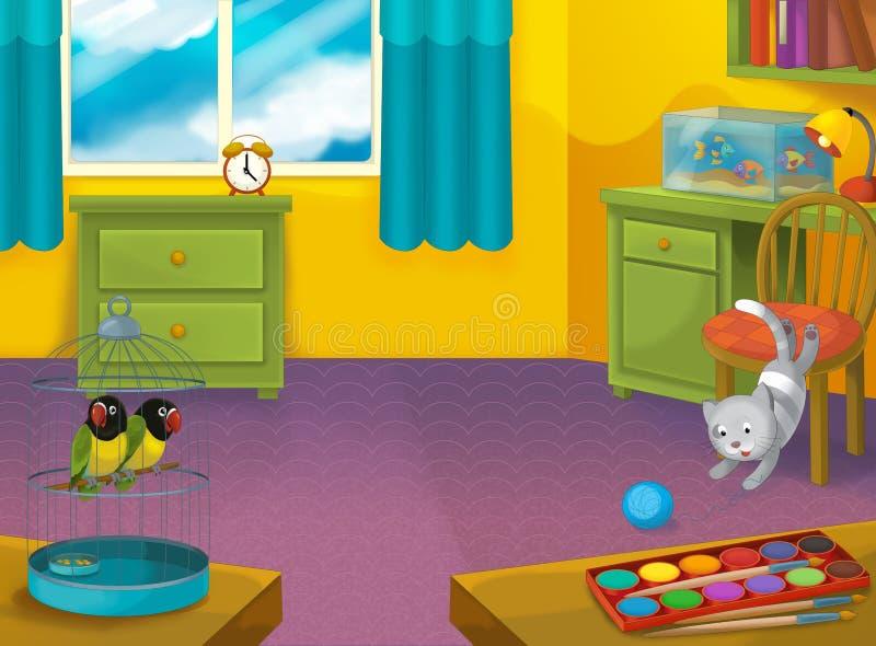 Kreskówka pokój z zwierzętami - ilustracja dla dzieci royalty ilustracja