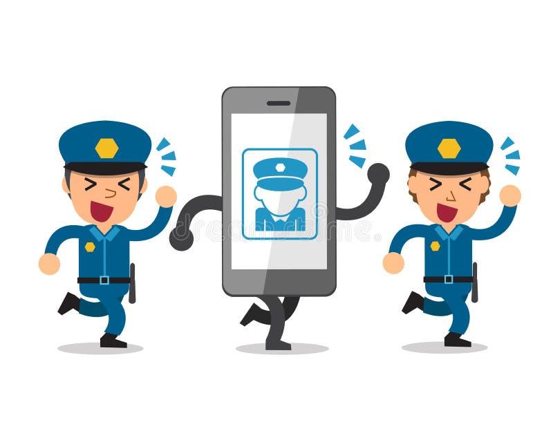 Kreskówka policjanci i smartphone ilustracji