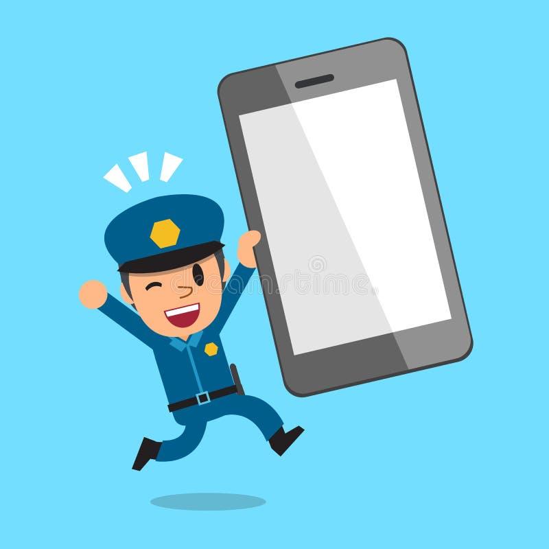 Kreskówka policjant i duży smartphone ilustracji