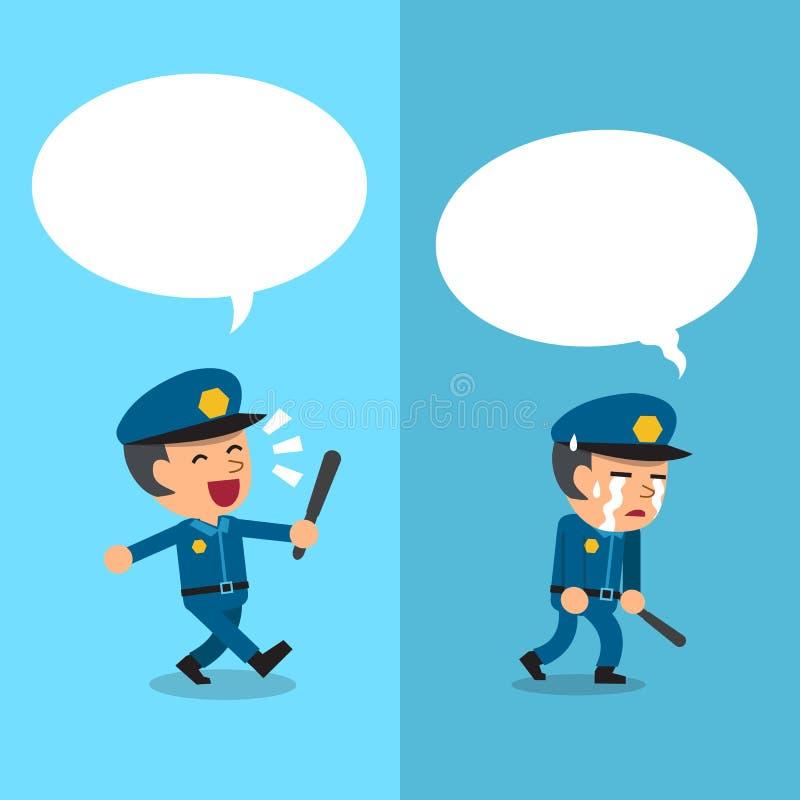 Kreskówka policjant wyraża różne emocje z białą mową gulgocze ilustracja wektor