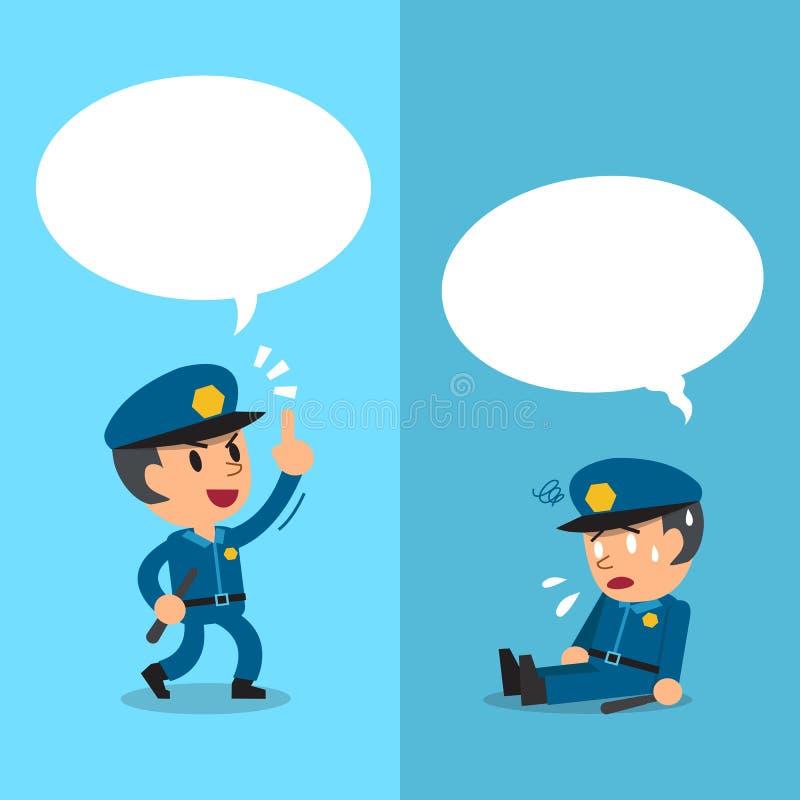 Kreskówka policjant wyraża różne emocje z białą mową gulgocze ilustracji