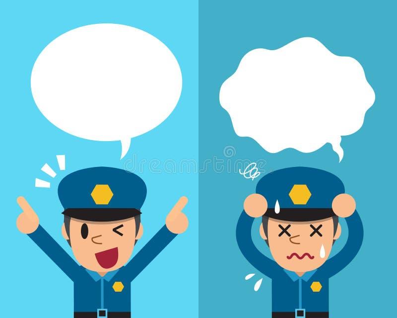 Kreskówka policjant wyraża różne emocje z mową gulgocze ilustracja wektor