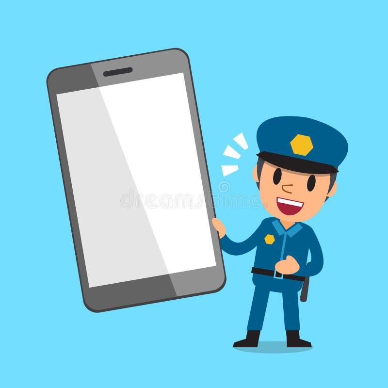 Kreskówka policjant z smartphone ilustracji