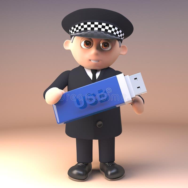 Kreskówka policjanta funkcjonariusz policji niesie kciuk przejażdżki usb pamięci kij w 3d, 3d ilustracja ilustracji