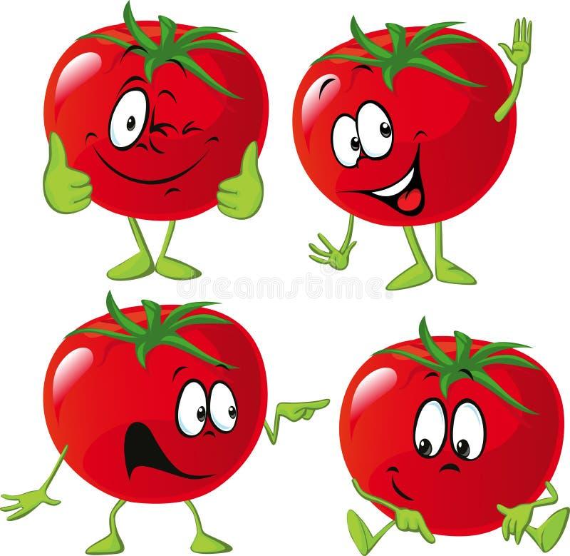 Kreskówka pomidor z wiele wyrażenie, ręka i noga, royalty ilustracja