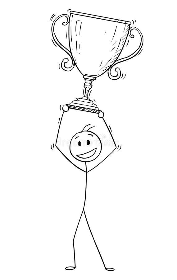 Kreskówka Pomyślny mężczyzna lub biznesmen Trzyma trofeum filiżankę