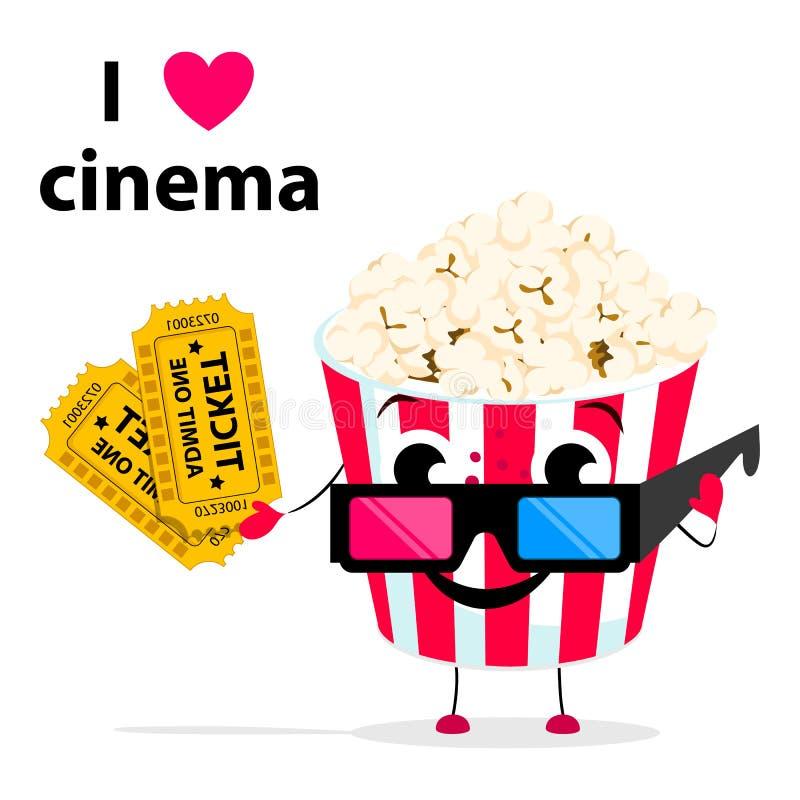 Kreskówka popkorn z oczami, 3d kinowymi szkłami i biletami odizolowywającymi na tle, ilustracji