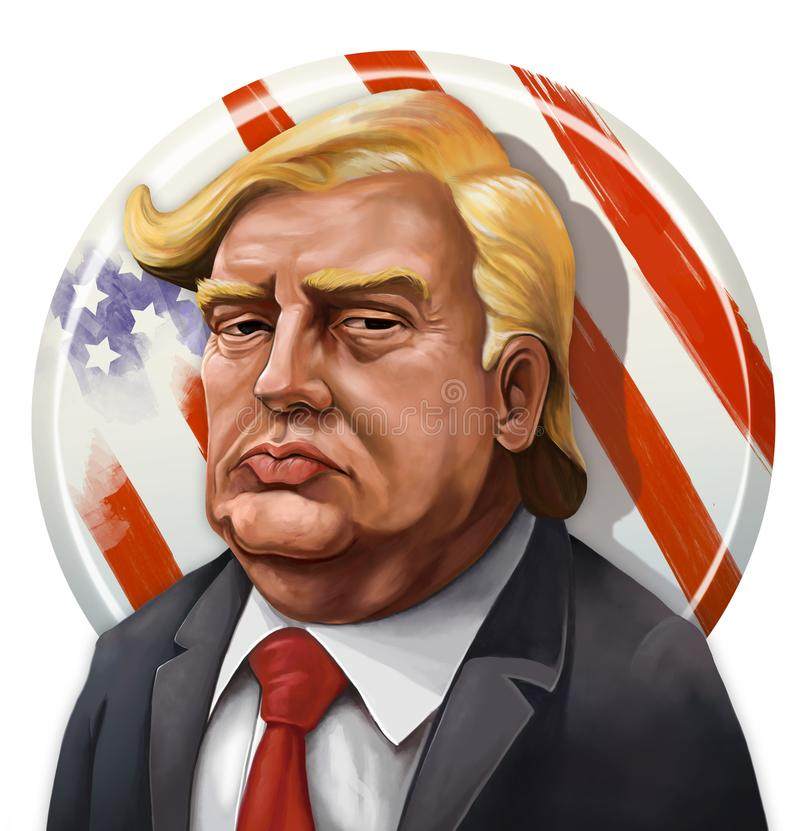 Kreskówka portret Donald atut - Ilustrujący Erkan Atay royalty ilustracja
