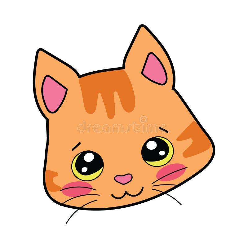 Kreskówka portret uśmiechnięty kot Wektorowa ilustracja dla dzieci na białym tle logo ilustracja wektor