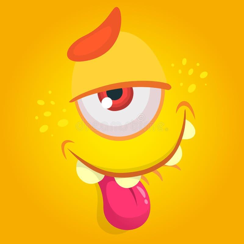 Kreskówka potwór Wektorowa Halloweenowa pomarańcze męczący chłodno potwora avatar z jeden okiem Wielki dla druku ilustracji
