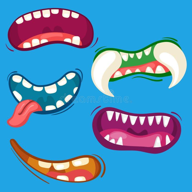 Kreskówka potwora śliczni usta ustawiający z różnymi emocjonalnymi wyrażeniami Zęby, jęzor, usta kolekcja Halloweenowy wektor ilustracja wektor