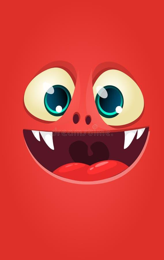 Kreskówka potwora twarz Wektorowy Halloween szokujący potwora kwadrata avatar royalty ilustracja