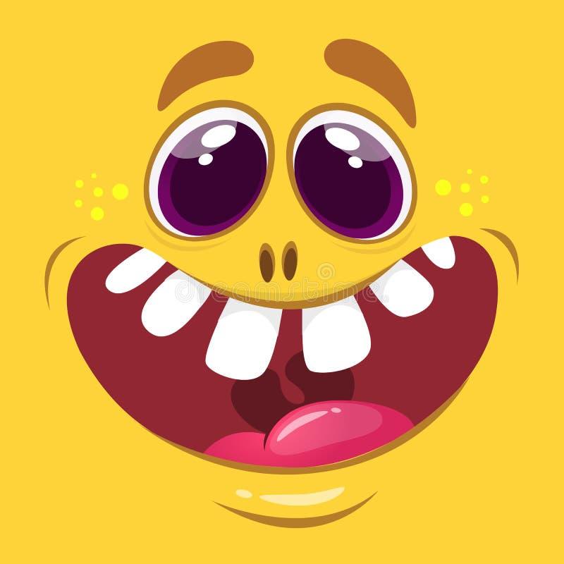 Kreskówka potwora twarz Wektorowy Halloweenowy pomarańczowy szczęśliwy potwora kwadrata avatar ilustracja wektor