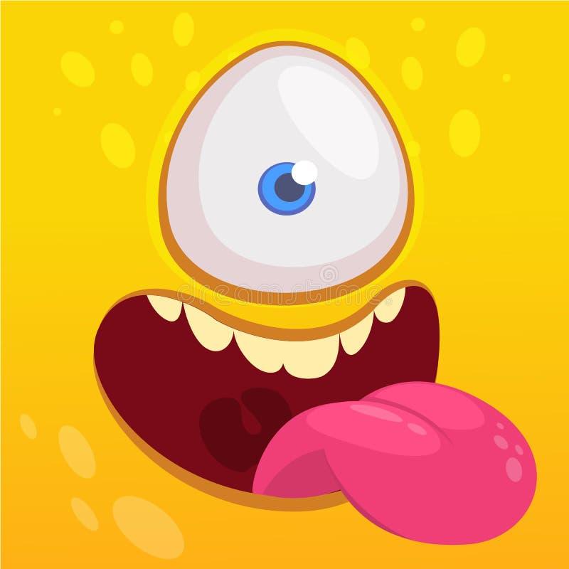 Kreskówka potwora twarz Wektorowy Halloweenowy szczęśliwy potwora kwadrata avatar Śmieszna potwór maska ilustracja wektor