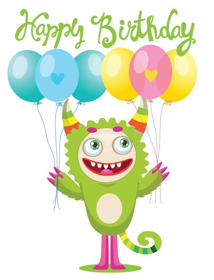 Kreskówka potwora wektoru Śliczna ilustracja Śmieszny potwora urodziny kartka z pozdrowieniami ilustracja wektor
