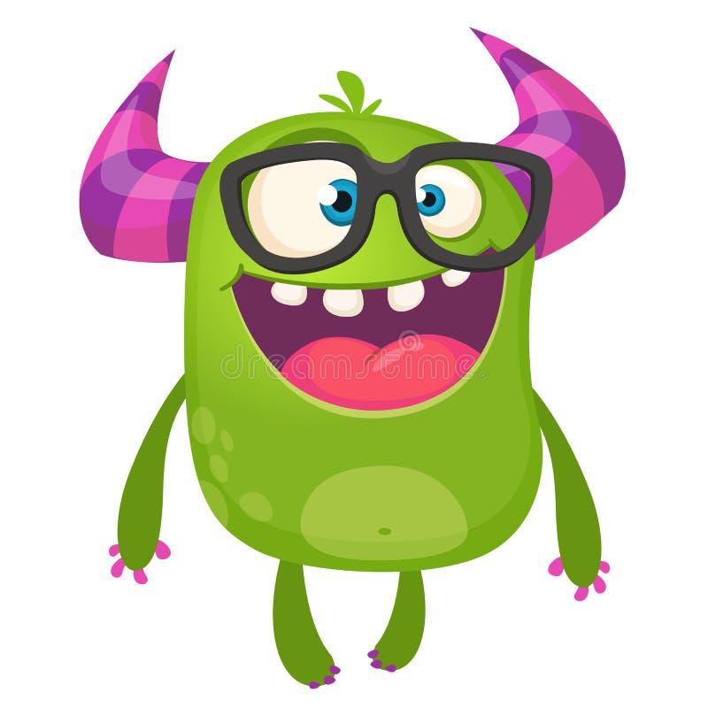 Kreskówka potwora zielony głupek jest ubranym szkła Odizolowywająca wektorowa ilustracja royalty ilustracja
