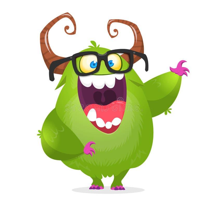 Kreskówka potwora zielony głupek jest ubranym szkła Wektorowa ilustracja z podnieceniem potwora charakter ilustracja wektor
