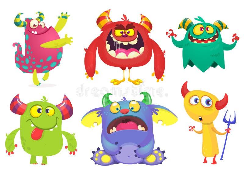 Kreskówka potwory inkasowi Wektorowy ustawiający kreskówka potwory odizolowywający Duch, błyszczka, gremlin, dziwożona, diabeł i  royalty ilustracja