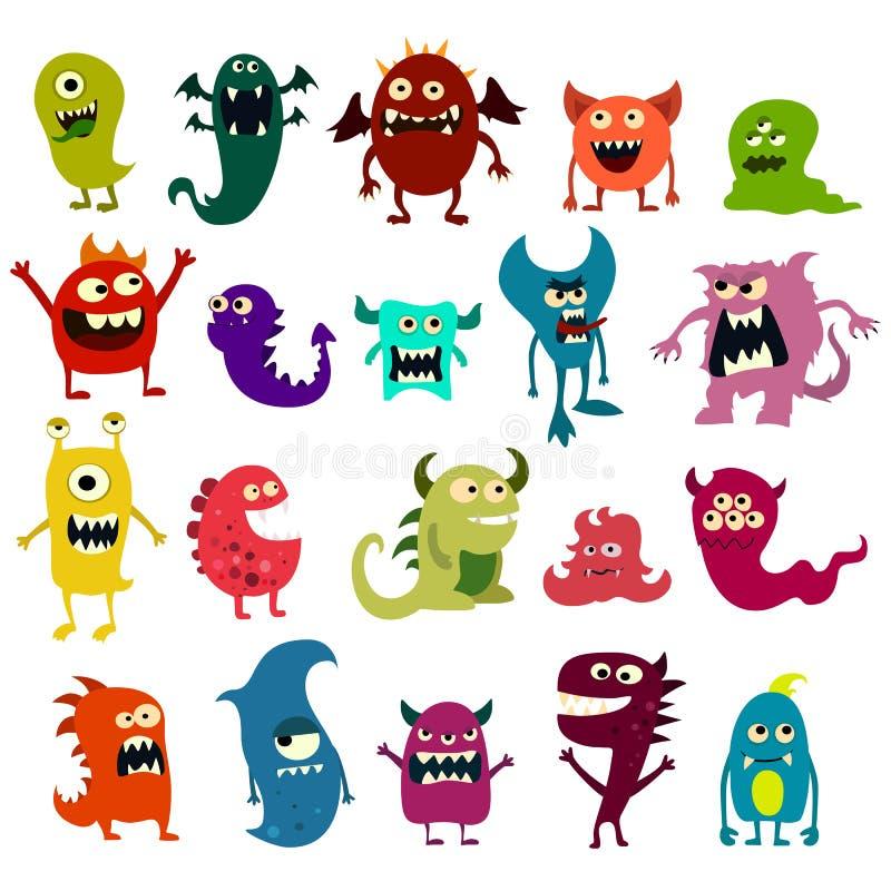 Kreskówka potwory ustawiający Kolorowy zabawkarski śliczny potwór wektor royalty ilustracja